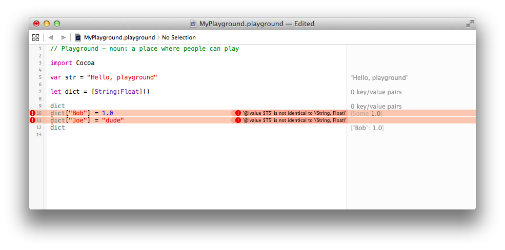 Swift Playground setting dict key values