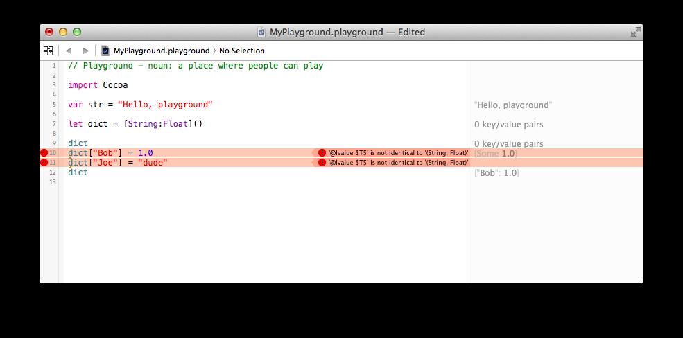 Swift Playground setting dict key values