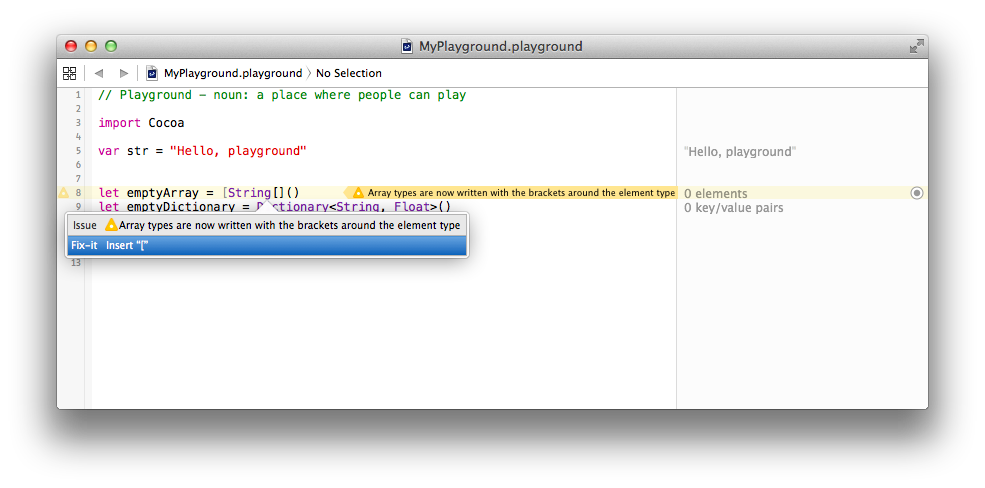 Swift Playground Array Syntax Change Notice